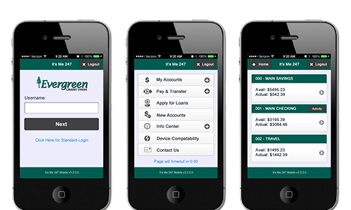 Evergreen Credit Union phone preview