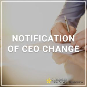 Notification of CEO Change