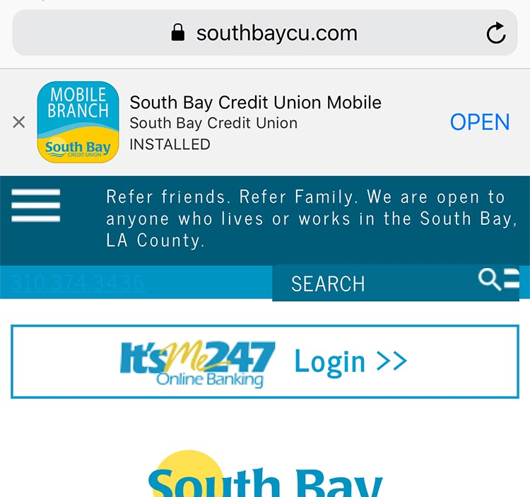 SouthBay Credit union App Store Installed
