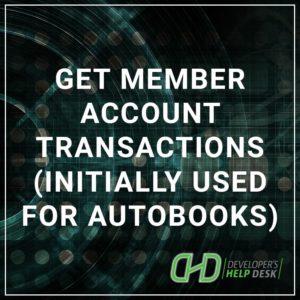 Get Member Account Transactions