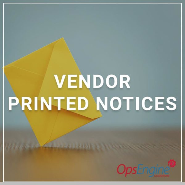 Vendor Printed Notices