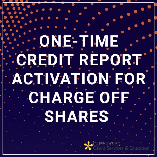 one time credit report activation for charge off shares